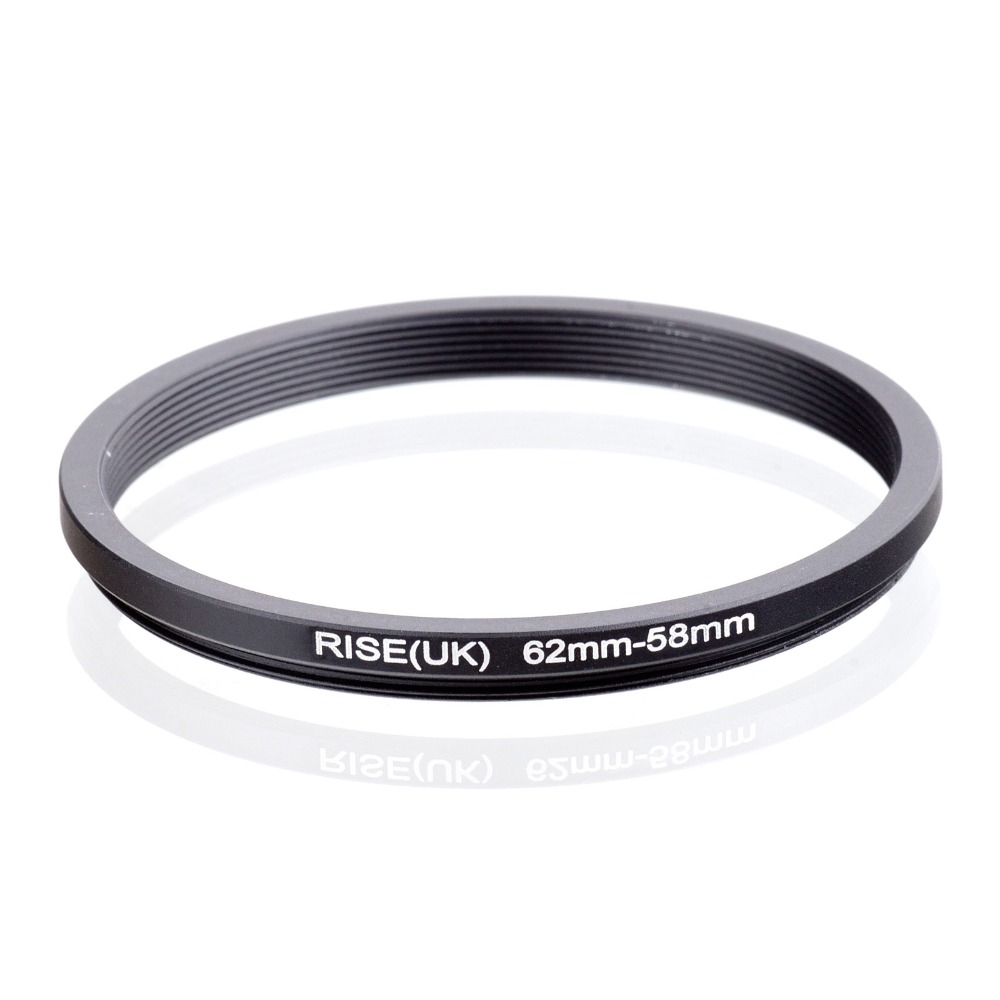 RISE(UK) 62mm-58mm 62-58mm 62 To 58 Step Down Ring Filter Adapter Black