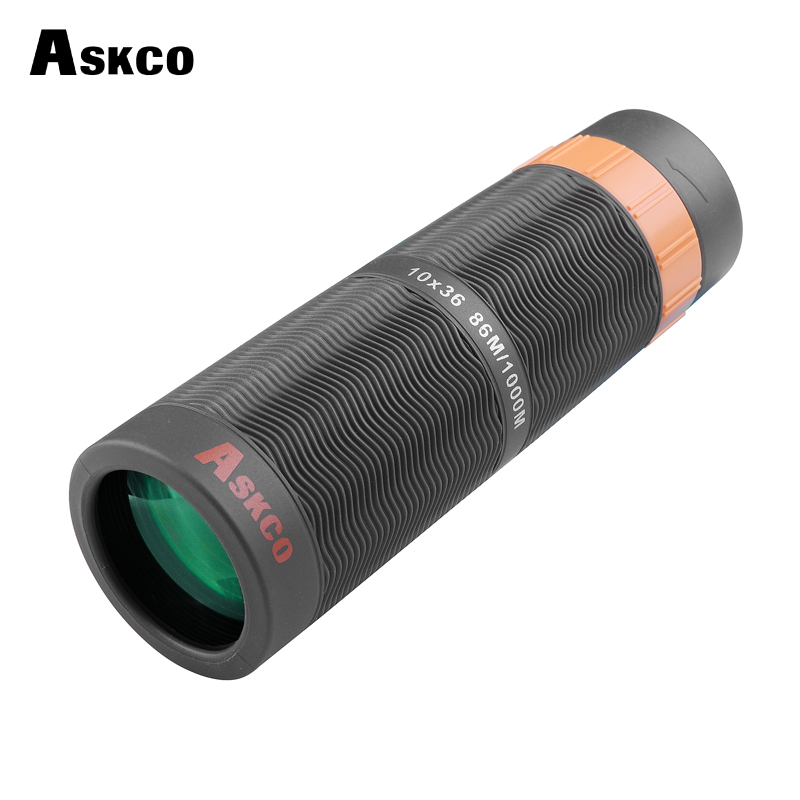 Askco Poderoso 10X36 Bak4 Prism Binóculos Telescópio Telescópio Monocular HD Cheio de Nitrogênio À Prova D' Água Com Adaptador de Câmera Do Telefone