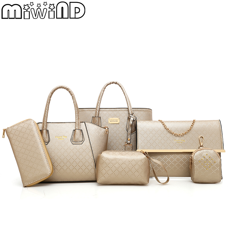 Women's Handbags Female Bags High Quality Leather Luxury PU Fashion Rivet Large Capacity Practical 6-Piece Set MIWIND 2018 New miwind new fashion leather handbags high quality women shoulder bags buy one get another free full set 6 pieces more favorable