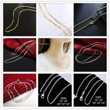 Big Promotion! 100% Authentic 925 Sterling Silver Chain Necklace with Lobster Clasps fit Men Women Pendant 10 Designs 16-30 Inch(China)