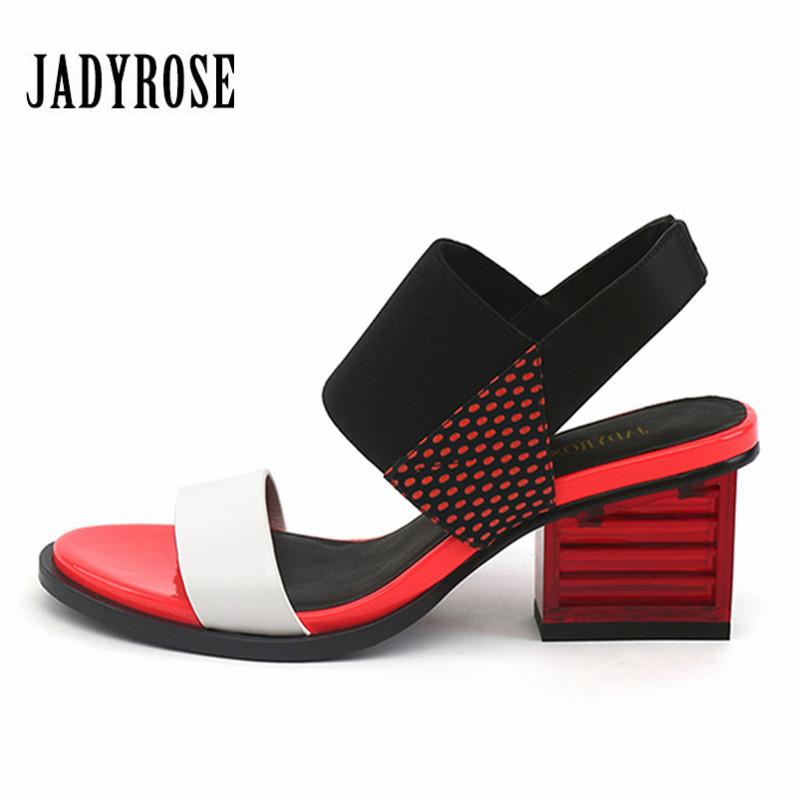 Jady Rose New Fashion Black Casual Women Summer Sandals Square High Heel Shoes Woman Pumps Gladiator Feminino Open Toe Slippers jady rose 2018 new women slippers square toe female sandals summer high heel slipper gladiator sandalias mujer wedge shoes woman
