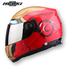 NENKI iron man spider man motorcycle helmet men and women summer season double lens anti fog sun protection