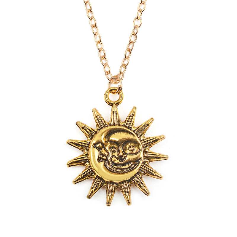 <font><b>sun</b></font> moon necklace women fashion <font><b>jewelry</b></font> collier bijoux vintage necklace collar choker necklace ras de cou image