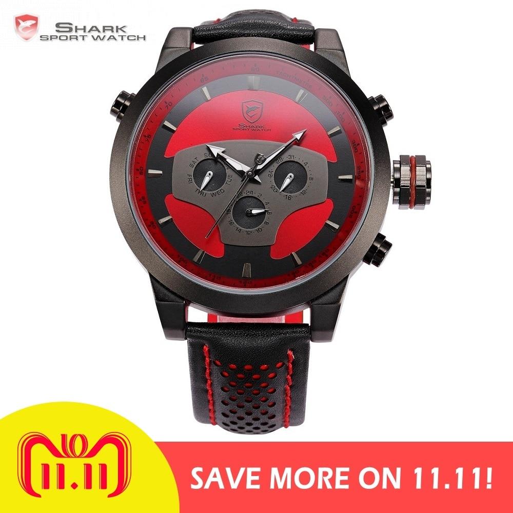 Requiem Shark Sport Watch Red Black Leather Band Quartz-Watch Waterproof Clock Date Men's Wrist Watches relogio masculino /SH207 цена