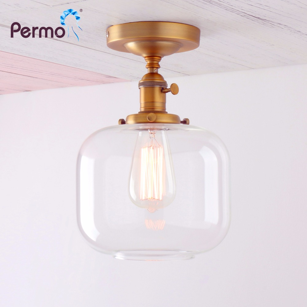 Lamps Light Fixtures Black Permo Vintage Industrial Semi Flush Mount Ceiling Light Fixture Pendant Lighting With Oval Cone Clear Glass Shade Tools Home Improvement Elektroelement Com Mk