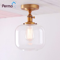 Permo Modern Wall lamp Retro Sonce Bedroom Wall Light Semi Flush Mount Lamp Jar Shape 6.7'' Clear Glass shade stair wandlamp
