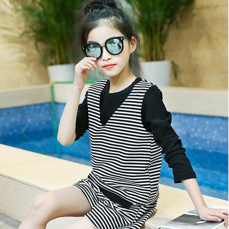 Clothing suit children's teenage girls clothing suit spring and autumn 2017 long-sleeved T-shirt + vest + shorts girls3 set 6 girls clothing suit spring