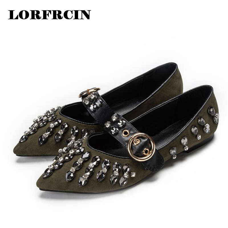 Rhinestone Women Ballet Flats Brand Design Nude Flat Shoes For Women 2017 Summer Shoes Pointed Toe Women Flats Plus Size 35-41 new 2017 spring summer women shoes pointed toe high quality brand fashion womens flats ladies plus size 41 sweet flock t179