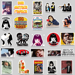 Image 2 - Pegatinas clásicas de película de Pulp Fiction, 50 Uds., pegatinas de grafiti para equipaje, monopatín, teléfono, Laptop, bicicleta, guitarra, álbum de recortes