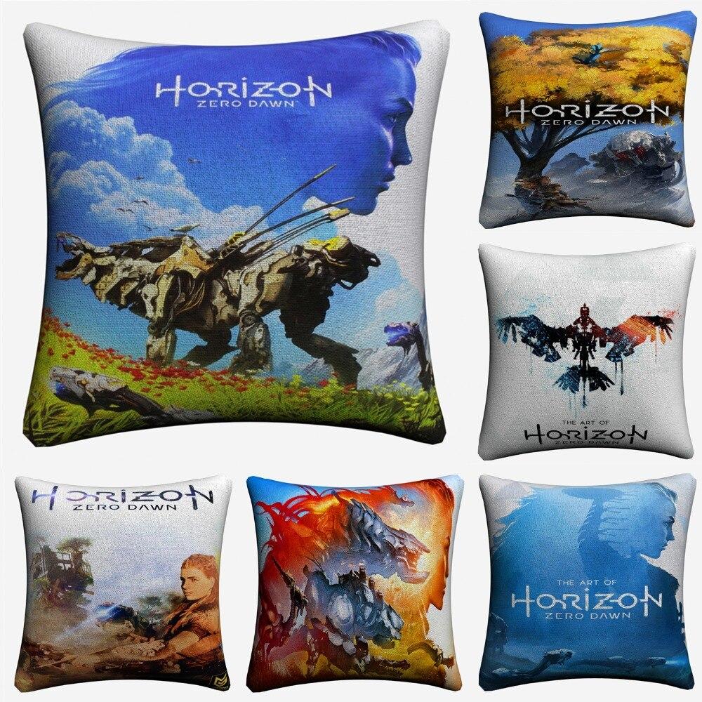 Horizon Zero Dawn Game Art Decorative Cotton Linen Cushion Cover 45x45cm For Sofa Chair Throw Pillow Case Home Decor Almofada