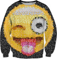 Mulheres/Homens Casual Crewneck Tops Hoodies Emoji Camisola Primavera 3D Suam Casacos Outfits Camisa