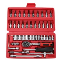 46pcs/set Spanner Socket Set 1/4 Car Repair Tool Ratchet Wrench Screw Set Mechanical Hand Combination Repair Bit Set Tool Kit