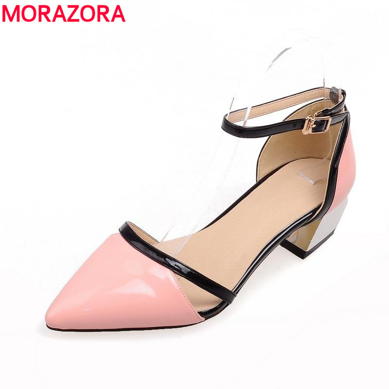 MORAZORA Large size 34-48 2018 med heels pointed toe party  prom black white pink   women sandals high quality shoes womenMORAZORA Large size 34-48 2018 med heels pointed toe party  prom black white pink   women sandals high quality shoes women