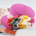 Baby Flower Cap Children Baseball Hat Girls Flatcap Kids Summer Straw Hat Sun Cap Girls Flower Fashion Cap BH0892