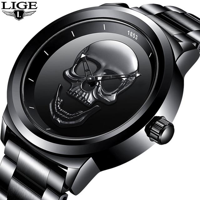 2019 LIGE Brand Cool punk style Pirate Skeleton Skull Quartz Mens Watches Mesh Steel sports Black Watch Men Relogio Masculino-in Quartz Watches from Watches
