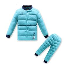2016 New Autumn Winter Fashionable Baby Boys Girls Children Warm Thick Down Clothing Set Down Clothing