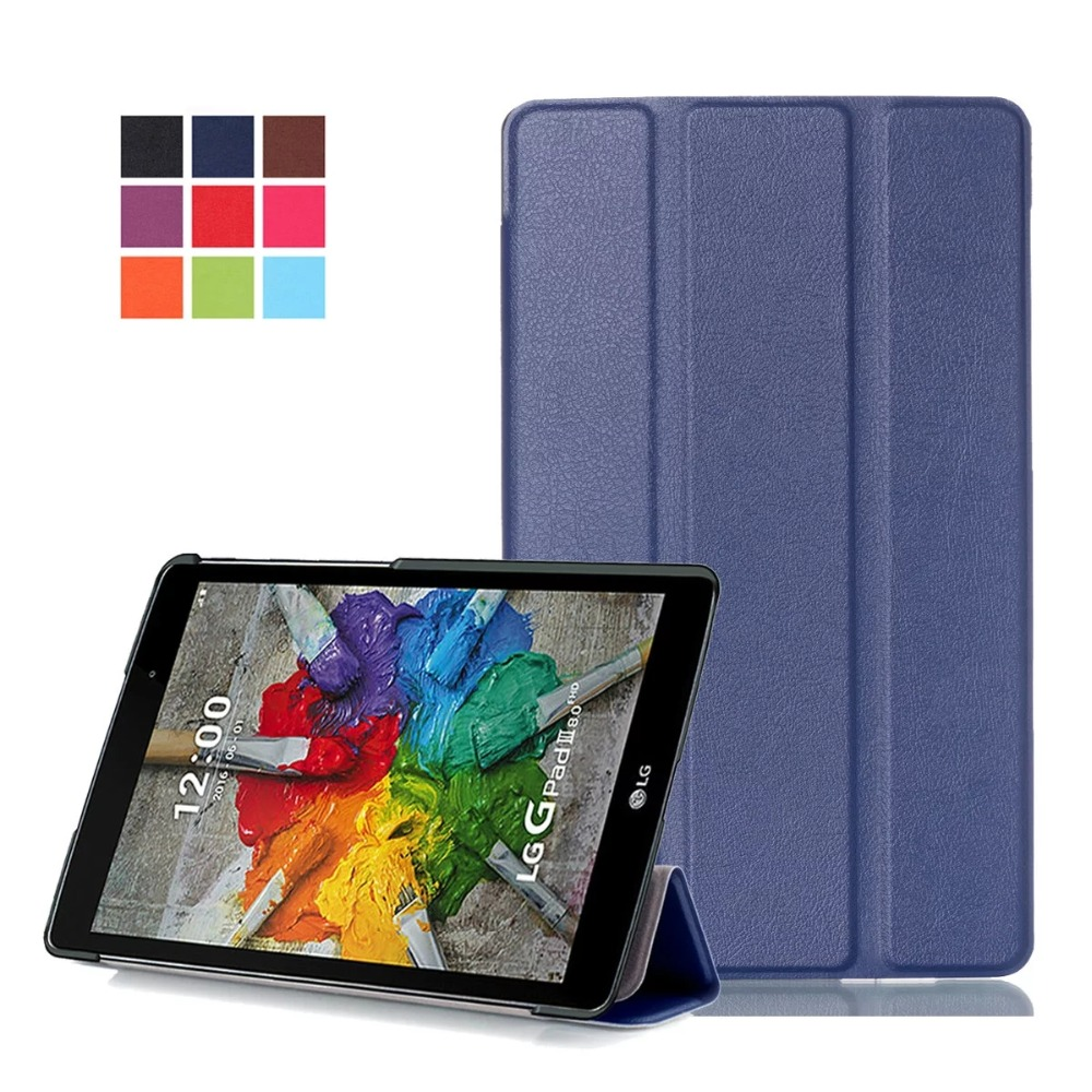 For LG G Pad 3 V525 8.0 inch Tablet case Smart 3-Fold PU Leather Case Flip Stand Cover Ultra Slim Colorful Painting Skin+Pen