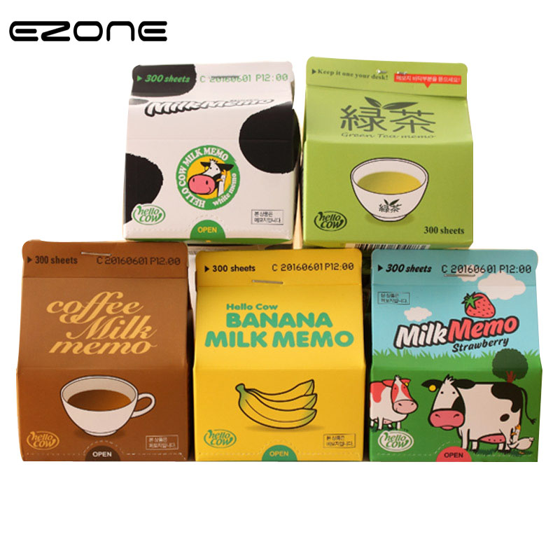 EZONE Cute Box Packed Sticky Notes Milk/Banana/Green Tea Memo Pad Colorful Inner Page Thicken 300 Sheets School Office Supply