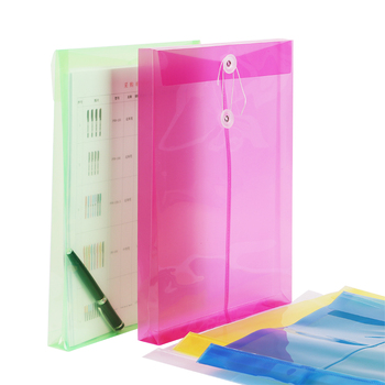1PC Office A4 File Bag Transparent Colorful Plastic Thicken Button Closure Folder Filing Products Office School Supplies 1