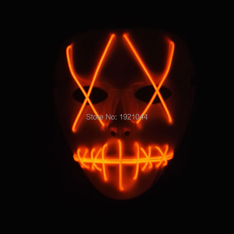 Hot Fashion Neon Cold Mask Glowing Color Orange Mask Decorative for Halloween Night fluorescent Cosplay Supplies