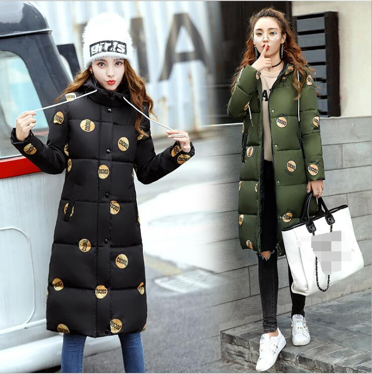 Фото Plus size women 2017 winter new fashion temperament Print camouflage Hooded stitching Cotton  self-cultivation Thick down jacket
