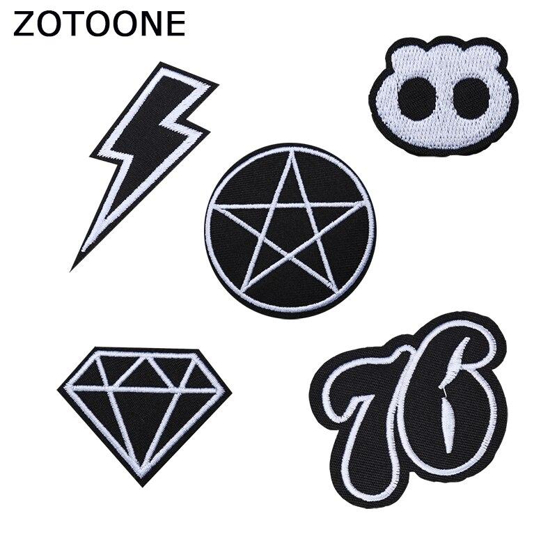 ZOTOONE Schwarz Weiß Kreis Flecken auf Kleidung Diy Bestickt Patch für Kleidung Diamant Bekleidungs Anwendungen Aufkleber Appliques