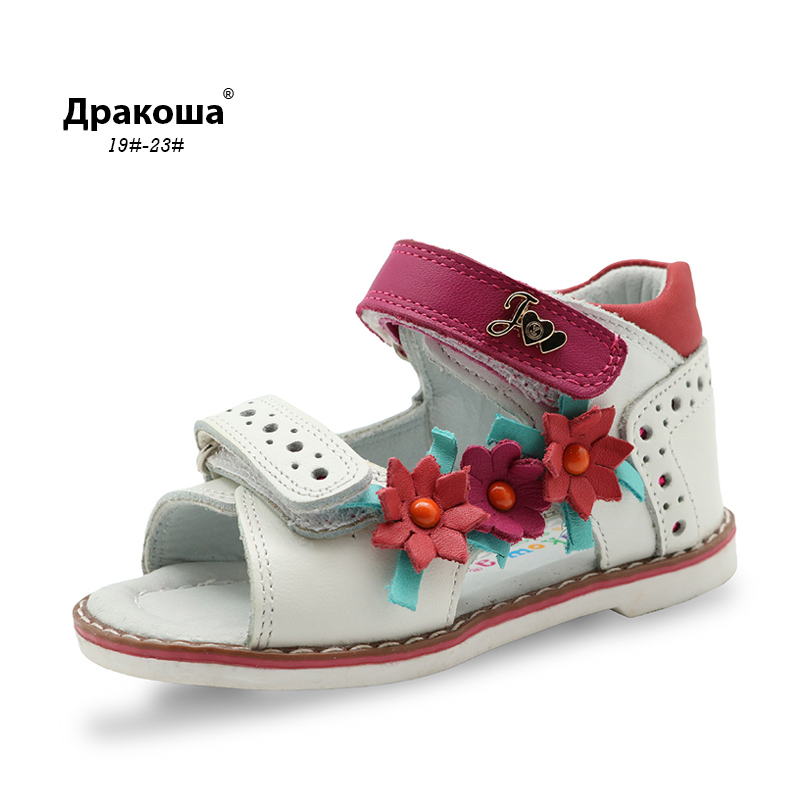 Apakowa Real Genuine Leather kids girls sandals with flower decoration children toddler girls leather sandals summer flats shoes