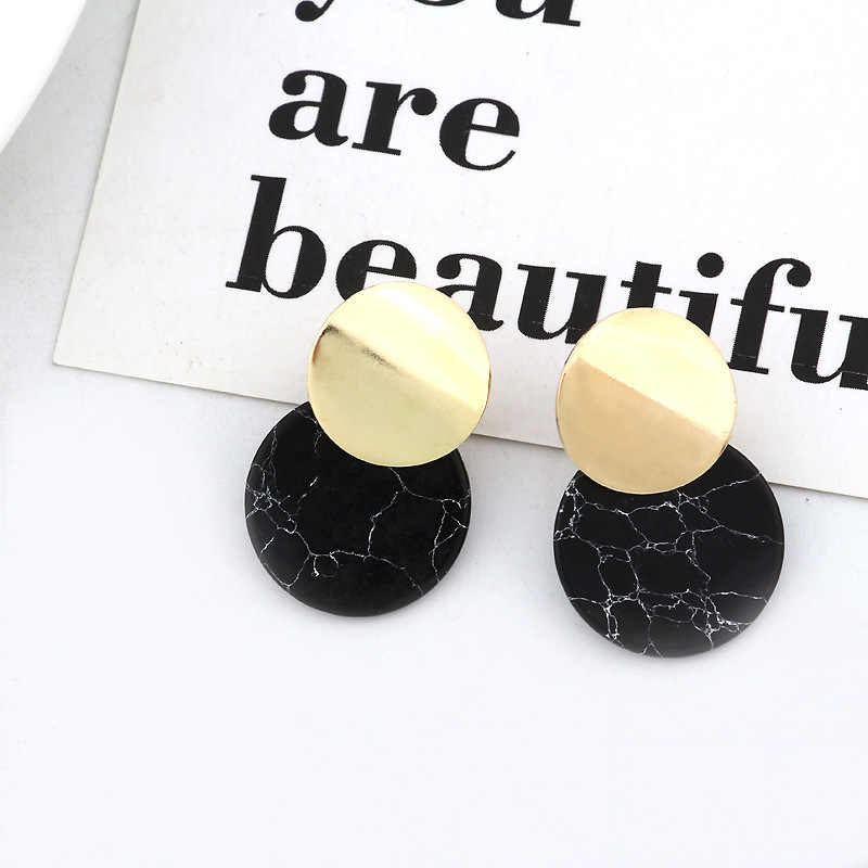 Unique Black Trendy Double Round Drop Earrings Stones Metal Gold Color Statement Earrings for Women Fashion Jewelry Party Gift