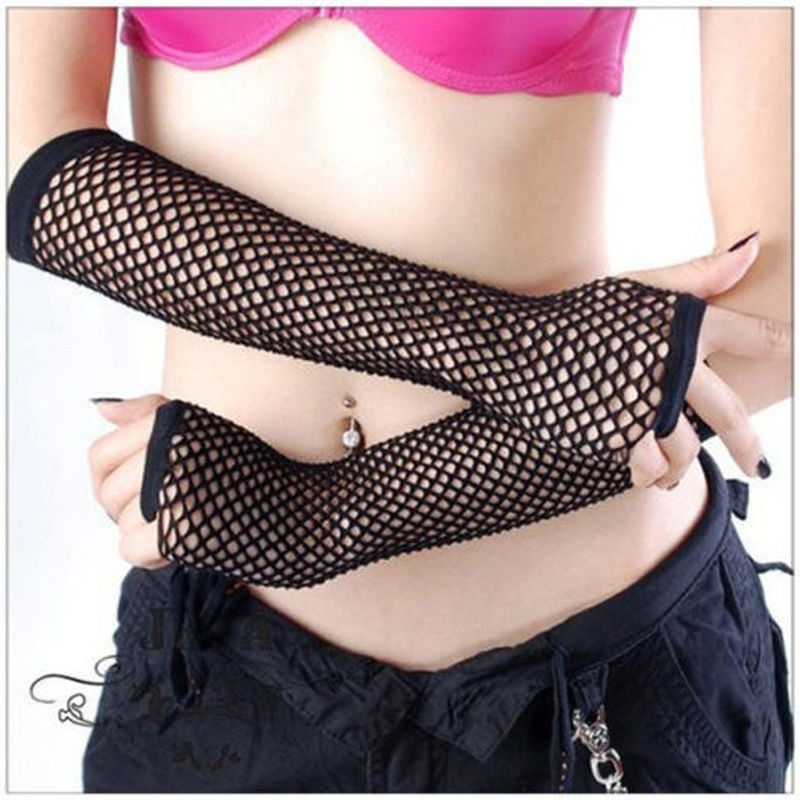 Popular Neon Fishnet Fingerless Long Gloves Leg Arm Cuff Goth Punk Masque (Color: Black)