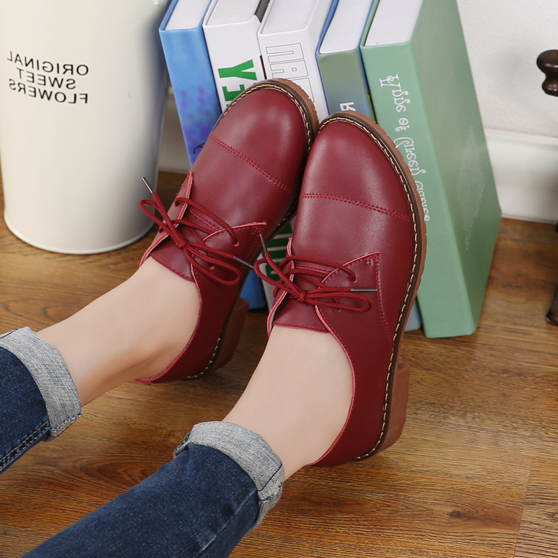 Genuine Leather Oxford Shoes Women Lace-up Flat Shoes For Women Leathe Casual Oxford Shoes Moccasins  Sapato Female Sapatilha genuine leather baby shoes lace up toddler baby moccasins mixed colors boys shoes first walkers free shipping