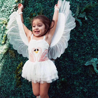 Ins Fashion Girls Dress Swan Embroidery Baby Girl Princess Dress With Wing Brand Children Dresses For Girl Summer Clothes