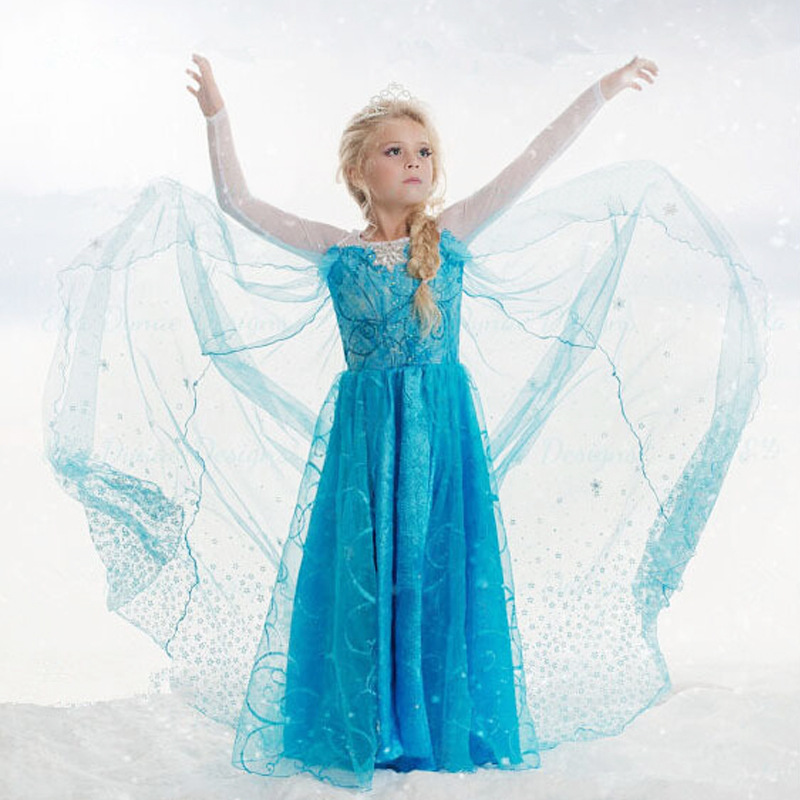2017 Kids Elsa Costume Girls Long Sleeve Elsa Dress for Girls Princess Dress Halloween Cosplay Children Snow Queen Party Clothes 2017 rapunzel cosplay dress children girls long hair princess dress halloween costume clothes kids clothing with sleeves garland
