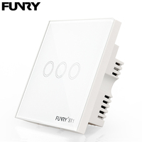 Funry ST1 3Gang UK Standard Smart Switch Remote Control Touch Wall Lamp Panel Surface Waterproof Crystal