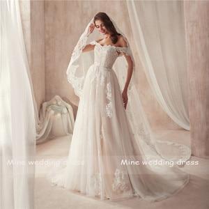 Image 3 - 2021 Off the Shoulder Nude Color Bridal Dress with Lace Applique Reals Bridal Dress New Coming Robe De Soiree Longue