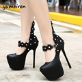 ankle strap heels evening shoes platform heels wedding shoes white flower pumps sexy high heels shoes for women shoes heels X74