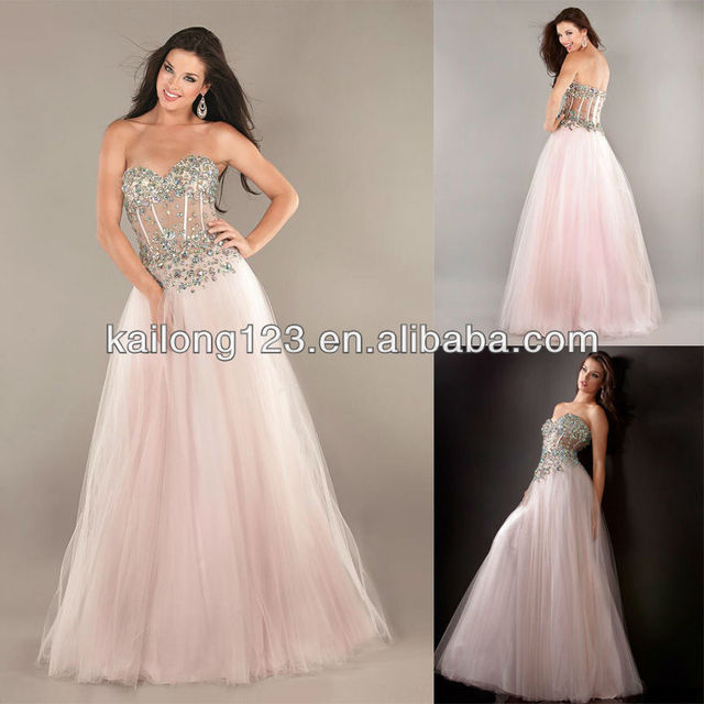 54562297e40 Ornate Sweetheart Beaded Corset Top Sheer Panels Floor-length Pink Tulle  Ball Gown Prom Dresses