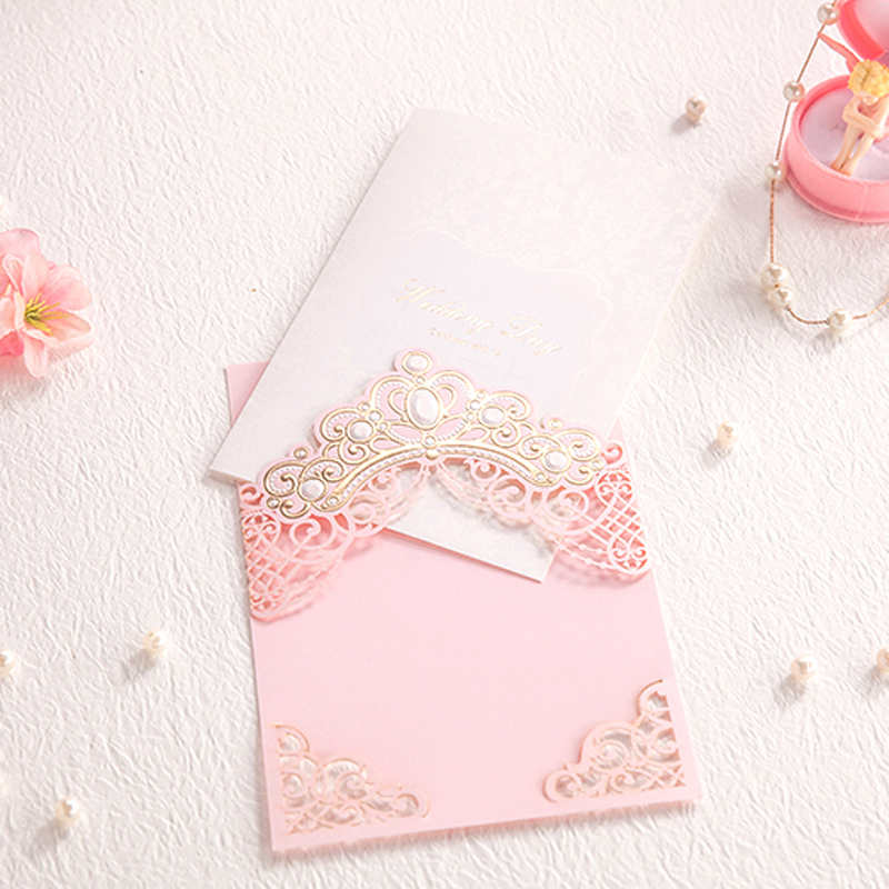 (10 Pieces/lot) New Design Royal Pink Wedding Invitation Card With Gold  Embossed