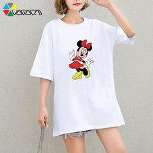 Summer New Plus Size Harajuku Short Sleeve Minnie Mickey Mouse T Shirts Fashion Loose Medium Long Tees M-2XL Casual Wear