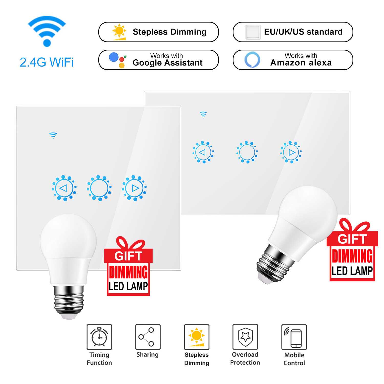 US $15 93 38% OFF|Led Dimmer 220V/110V Ewelink Wifi Dimmer Switch Smart  Touch light switch Bulb Dimmer work With Amazon Alexa Google Assistant-in