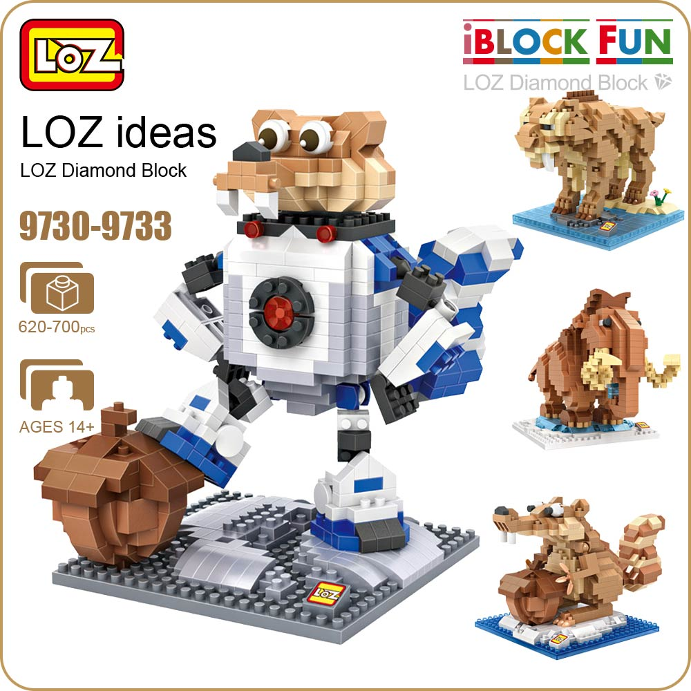 LOZ Diamond Blocks Animal Action Figure Set Building Bricks Cute Saber Tiger Mammoth Elephant Squirrel Toys Hobbies 9730-9733 loz diamond blocks dans blocks iblock fun building bricks movie alien figure action toys for children assembly model 9461 9462