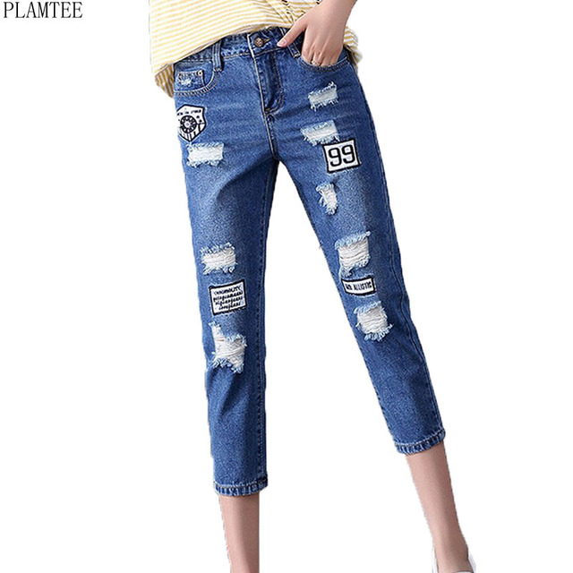 4bcd1fe88779a PLAMTEE Ripped Holes Denim Jeans For Women Plus Size 26-32 Casual Ladies  Calf-Length Denim Pants Letter Printed Vaqueros Mujer