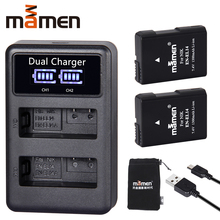 цена на Mamen EN-EL14 EN EL14 EN-EL14a ENEL14 EL14a Camera Battery Pack + LCD USB Dual Charger for Nikon D3100 D3200 D5300 D5100 D5200