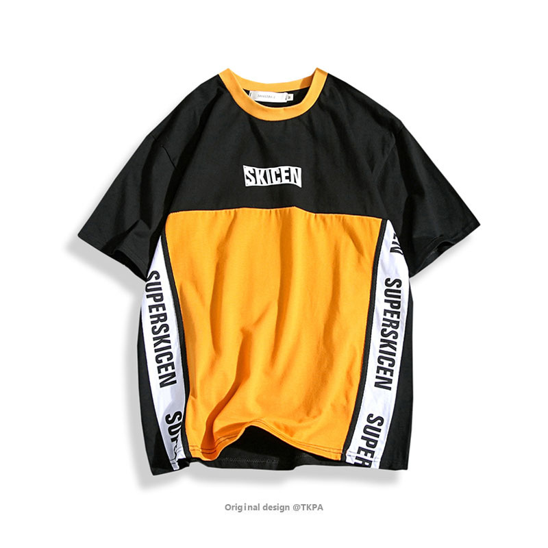 Men Tshirt Summer clothing Printed stitching Streetwear vintage stripe tee Skateboard Boys Skate Tshirt Fashion Casual oversized