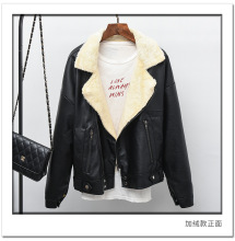 Faux Leather Suede Coat Aviator Black Leather Jacket Winter Warm Lambs Wool Fur Collar Suede Jackets Shearling Coats Women .