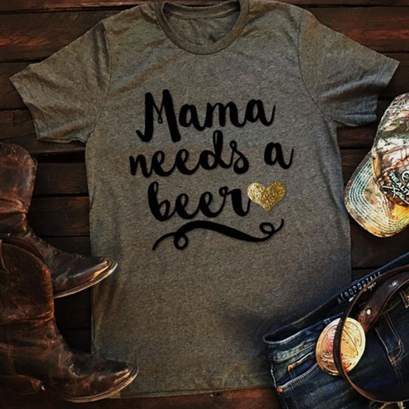 T-shirt Dames Korte mouw Mode Zomer Mama Heeft een bierhartje nodig Print T-shirt Grijs Casual T-shirt Dames Lady Tops Tee 3XL