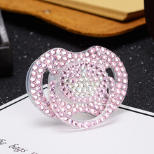 MIYOCAR bling pink rhinestone with white crown pacifier beautiful and niquue gift for baby