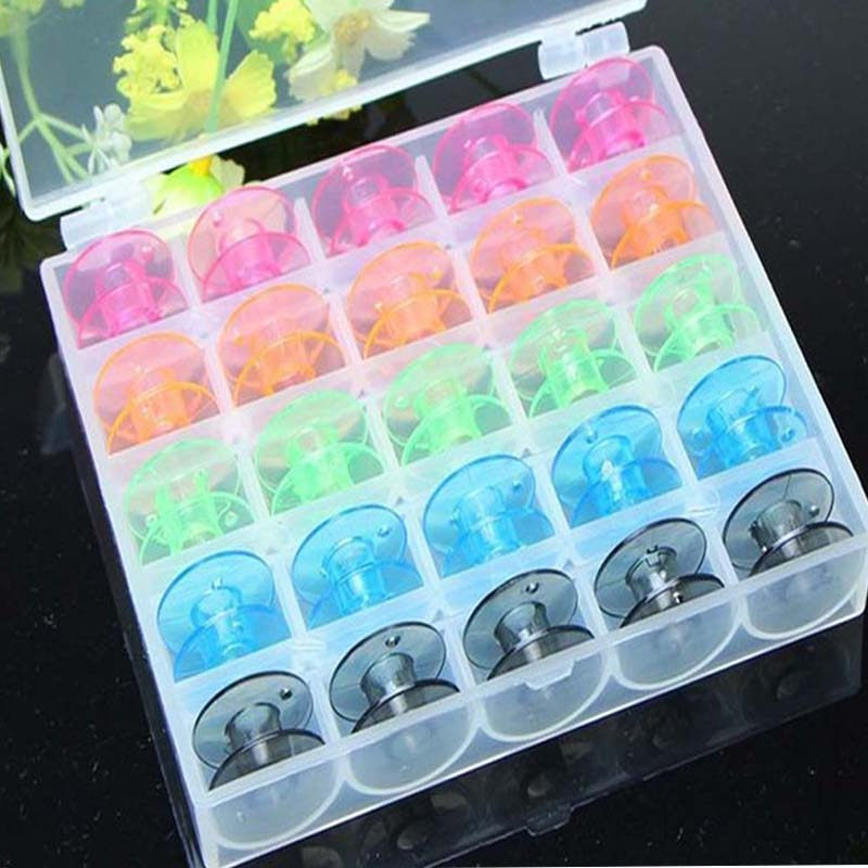 25Pcs Set Empty Bobbins Sewing Machine Spools Colorful Plastic Case Storage Box for Sewing Machine