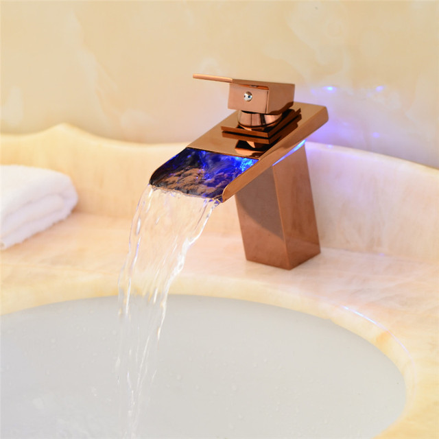 Hot Sale Waterfall Bathroom Faucet Deck Mounted Brass Vanity Sink ...