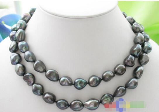 "Hot sale new Style >>>>>Luster 33"" 15mm BAROQUE TAHITIAN BLACK PEARL NECKLACE SILVER"