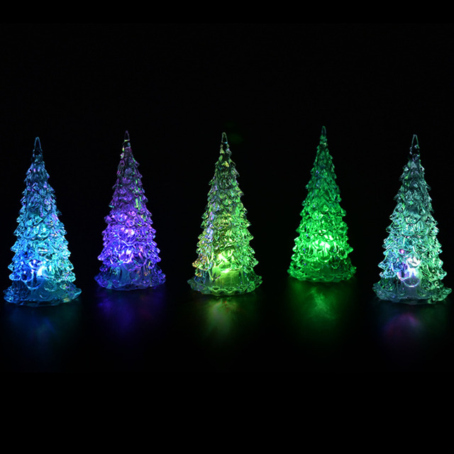 1pcs mini christmas tree crystal colorful led table lamp light baubles decorations xmas festival party wholesale